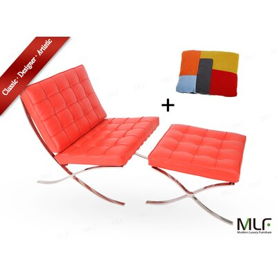 Lounge Chair and Ottoman Upholstery: Aniline Leather Red