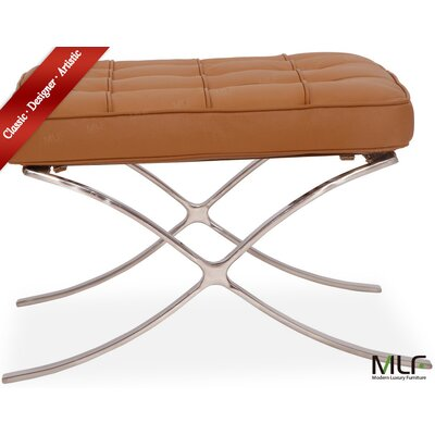 Leather Ottoman Leather Type: Italian Leather, Fabric: Light Brown/Tan