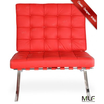 Lounge Chair and Ottoman Upholstery: Italian Leather Red