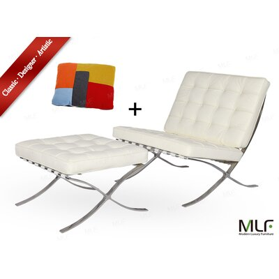 Lounge Chair and Ottoman Upholstery: Aniline Leather White/Cream