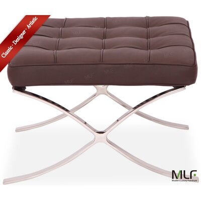 Leather Ottoman Fabric: Dark Brown/Tan, Leather Type: Aniline Leather