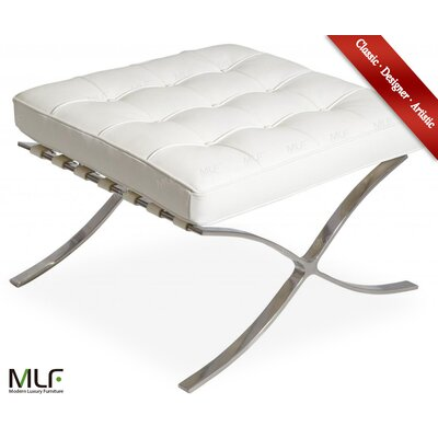 Leather Ottoman Fabric: White/Cream, Leather Type: Aniline Leather
