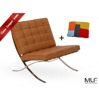 Lounge Chair Upholstery: Italian Leather Light Brown/Tan
