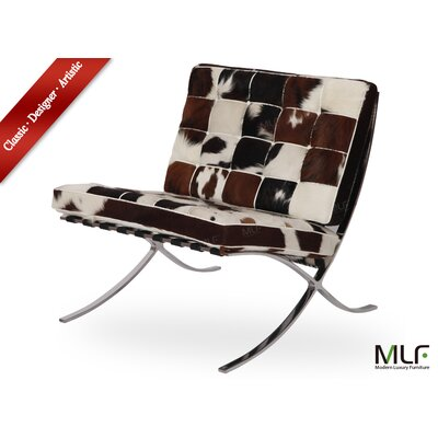 Lounge Chair Upholstery: Black/White/Brown
