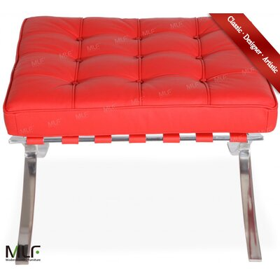 Leather Ottoman Leather Type: Italian Leather, Fabric: Red