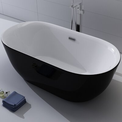 Lamone 66 x 31.25 Freestanding Soaking Bathtub Color: Black