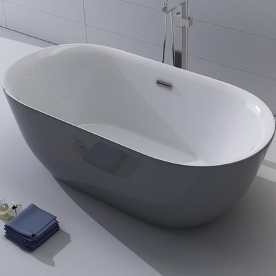 Lamone 66 x 31.25 Freestanding Soaking Bathtub Color: Gray