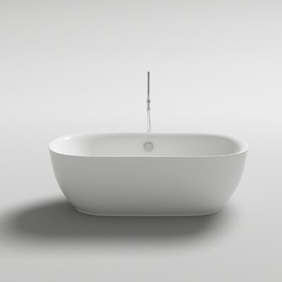 Lamone 66 x 31.25 Freestanding Soaking Bathtub Color: White