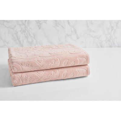 Trellis Sculpted Jacquard Bath Towel Color: Morganite