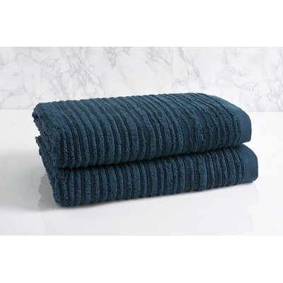 Cascading Solid Oversized Bath Towel Color: Midnight Blue