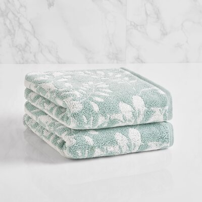 Floral Block Hand Towel Color: Sterling Blue/Sugar Swizzle