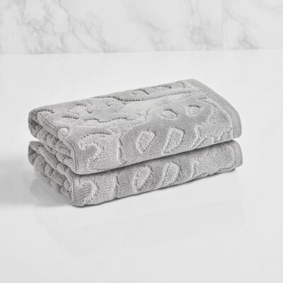 Trellis Sculpted Jacquard Washcloth Color: Soft Silver