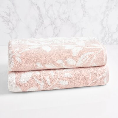 Floral Block Bath Towel Color: Morganite/Sugar Swizzle