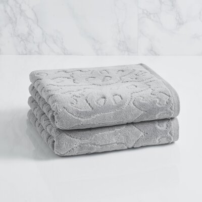 Trellis Sculpted Jacquard Hand Towel Color: Soft Silver