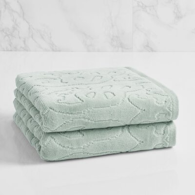 Trellis Sculpted Jacquard Hand Towel Color: Sterling Blue