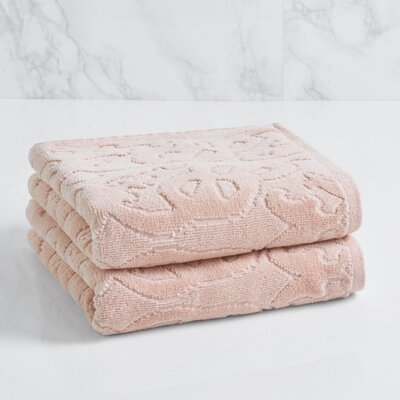 Trellis Sculpted Jacquard Hand Towel Color: Morganite