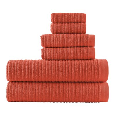 Blair Solid 6 Piece Towel Set Color: Sunset Orange