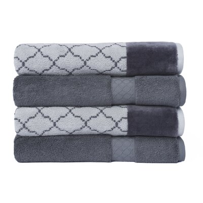 4 Piece Bath Towel Set Color: Gray