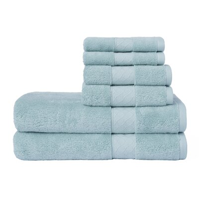 Leelou Solid 6 Piece Cotton Towel Set Color: Aqua