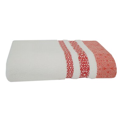 Embroidery Cotton Bath Towel Color: Coral