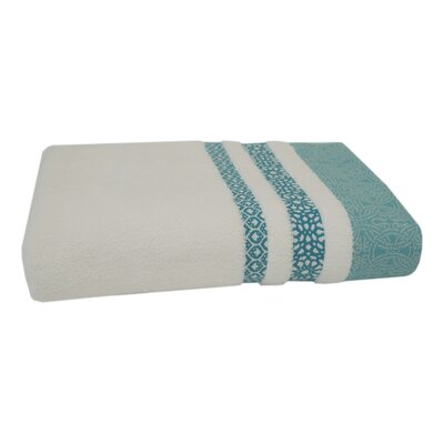 Embroidery Cotton Bath Towel Color: Teal