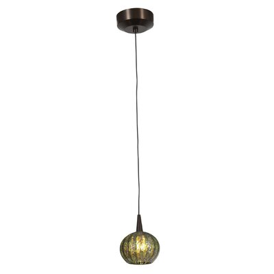 Patnode 1-Light Pendant Finish: Bronze, Shade Color: Red Ribbed Opaline