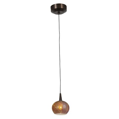 Patnode 1-Light Pendant Finish: Bronze, Shade Color: Silver Amber Opaline