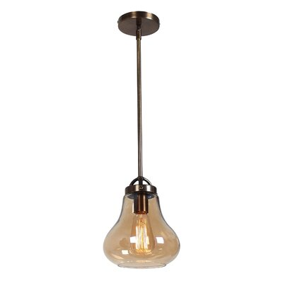 Weatherspoon 1-Light Pendant Shade Color: Amber, Size: 54.24 H x 7 W x 7 D