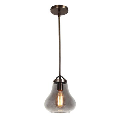 Weatherspoon 1-Light Pendant Shade Color: Smoke, Size: 54.24 H x 7 W x 7 D