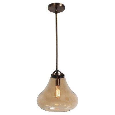 Weatherspoon 1-Light Pendant Shade Color: Amber, Size: 59.25 H x 12 W x 12 D