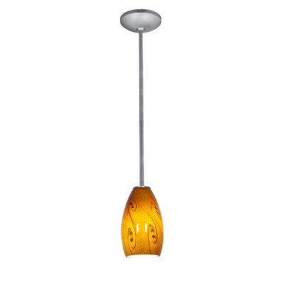 Champagne 1-Light Pendant Finish: Brushed Steel, Shade Color: Amber Sky