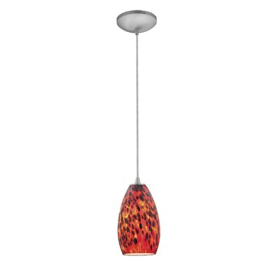 Champagne 1-Light Pendant Finish: Brushed Steel, Shade Color: Red