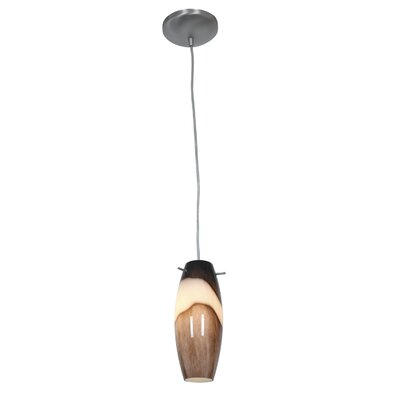 Cabernet 1-Light Pendant Finish: Brushed Steel, Stem Type: Cord, Shade Color: Brown Slate
