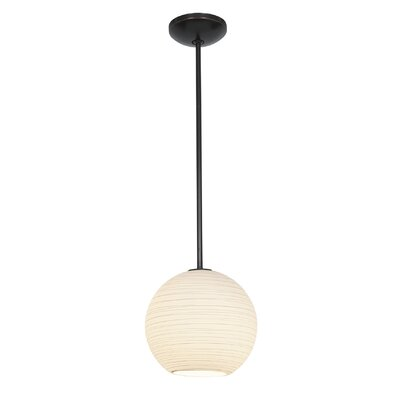 Weber 1-Light Mini Pendant Finish: Oil Rubbed Bronze, Size: 155 H x 12 W x 12 D, Stem Type: Rod