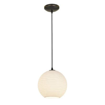 Japanese 1-Light Pendant Stem Type: Cord, Finish: Oil Rubbed Bronze, Size: 155 H x 12 W x 12 D
