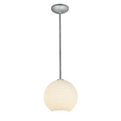 Weber 1-Light Pendant Finish: Brushed Steel, Size: 155 H x 12 W x 12 D, Stem Type: Rod