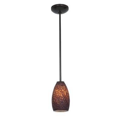 Carballo Modern 1-Light Elliptical Shade Pendant Finish: Oil Rubbed Bronze, Shade Color: Brown Stone