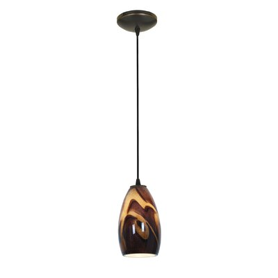 Carballo Modern 1-Light Elliptical Glass Shade Pendant Finish: Oil Rubbed Bronze
