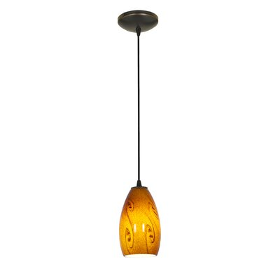 Champagne 1-Light Pendant Finish: Oil Rubbed Bronze, Shade Color: Amber Sky