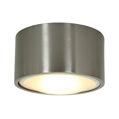 Ares 1-Light Flush Mount Bulb Type: LED, Shade Color: Brushed Steel