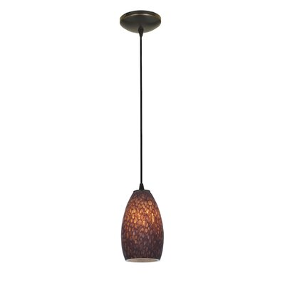 Carballo Modern 1-Light Glass Shade Pendant Finish: Oil Rubbed Bronze, Shade Color: Brown Stone