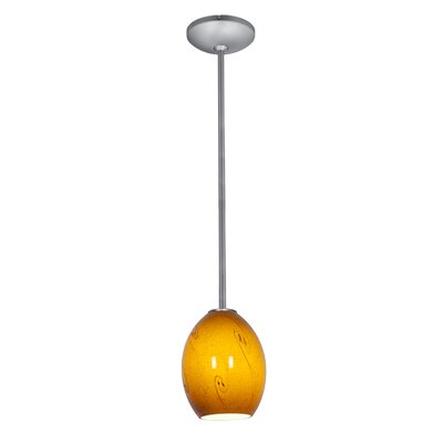 Brandy FireBird 1-Light Pendant Shade Color: Amber Sky, Stem Type: Rod, Finish: Brushed Steel