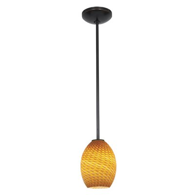 Norberg 1-Light Oval Shade Pendant Finish: Oil Rubbed Bronze, Shade Color: Amber Firebird, Stem Type: Rod