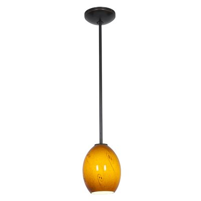Brandy FireBird 1-Light Pendant Finish: Oil Rubbed Bronze, Shade Color: Amber Sky, Stem Type: Rod