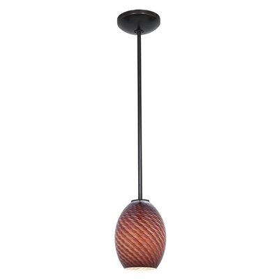 Norberg 1-Light Oval Shade Pendant Finish: Oil Rubbed Bronze, Shade Color: Plum Firebird, Stem Type: Rod