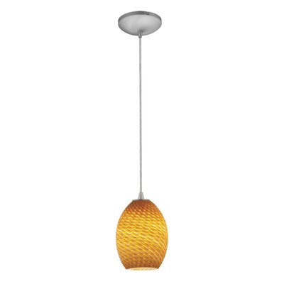 Norberg Modern 1-Light Pendant Finish: Brushed Steel, Shade Color: Amber Firebird, Stem Type: Cord