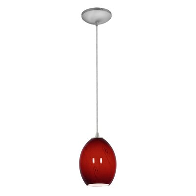Norberg 1-Light Glass Shade Pendant Finish: Brushed Steel, Shade Color: Red Sky, Stem Type: Cord