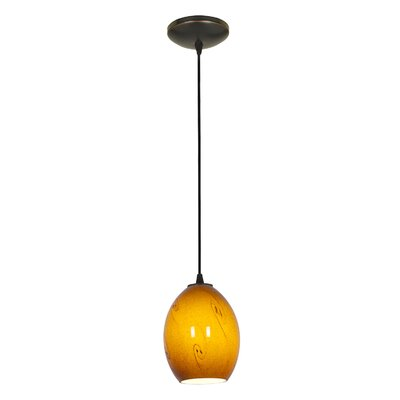 Brandy FireBird 1-Light Pendant Shade Color: Amber Sky, Stem Type: Cord, Finish: Oil Rubbed Bronze