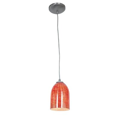 Bordeaux 1-Light Pendant Finish: Brushed Steel, Shade Color: Wicker Red