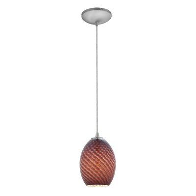 Norberg 1-Light Oval Shade Pendant Finish: Brushed Steel, Shade Color: Plum Firebird, Stem Type: Cord